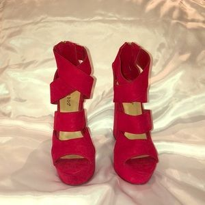 Red Suede Platform High Heels - Size 6.5